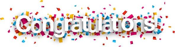 Congratulations paper confetti sign. Congratulations paper sign over confetti. Vector holiday illustration Stock Photography