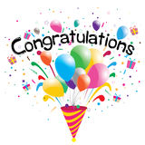 Congratulations party  on white background. Congratulations. Multicolored balloons Stock Image