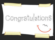 Congratulations pencil short note on paper tape Stock Image