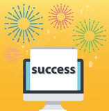 Congratulations pop up on screen computer and yellow background, successful business concept illustration Royalty Free Stock Image