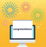 Congratulations pop up on screen computer and yellow background, successful business concept illustration Stock Image