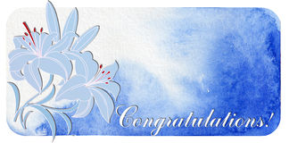 Congratulations. postcard with lilies Royalty Free Stock Image