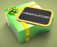 Congratulations Present Card Shows Stock Photo