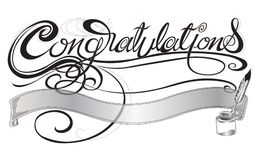 Congratulations with quill pen and ink sign or card design gray Stock Images