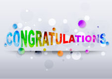 Congratulations rainbow text. Congratulations colored rainbow text with background sparkles stars. Vector illustration Stock Photos