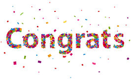 Congratulations sign with colorful confetti Stock Photography