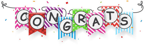 Free Congratulations Sign With Bunting Flags Stock Image - 92065331