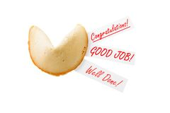Congratulations! - single fortune cookie Stock Photos