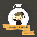 Congratulations for smart boy graduate Stock Image