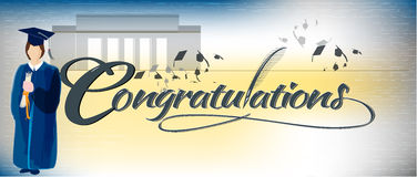 Congratulations text banner. With quill and graduate and college silhouette in the background Royalty Free Stock Image