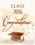 Graduation of class 2016. Congratulations text with quill and mortar for graduating class 2016. Eps 10 Royalty Free Stock Photo