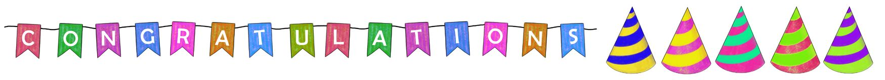 Congratulations. Text colored banner with party hats royalty free illustration