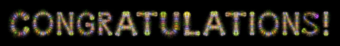 Congratulations text colorful sparkling fireworks horizontal bla Stock Photo