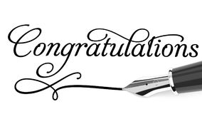 Congratulations card. Congratulations text handwritten with fountain pen Royalty Free Stock Photography