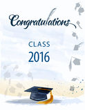 Congratulations text with quill. Congratulationstext with quill and mortar for graduating class stock illustration