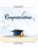Congratulations text with quill. And mortar in watercolors. Graduation concept Stock Photography