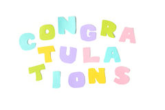 Congratulations text on white background Stock Images