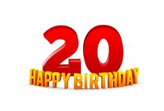Congratulations on the 20th anniversary, happy birthday with rounded 3d text and shadow isolated on white background royalty free stock photo