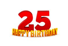 Congratulations on the 25th anniversary, happy birthday with rounded 3d text and shadow isolated on white background royalty free stock photos