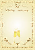 Congratulations on the 5th anniversary of wooden wedding Stock Images