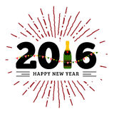 Congratulations to the happy new 2016 year with a bottle of champagne, flags. Vector flat illustration with sunburst Stock Photos