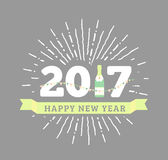 Congratulations to the happy new 2017 year with a bottle of champagne, flags. Vector flat illustration with sunburst Stock Photography