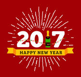 Congratulations to the happy new 2017 year with a bottle of champagne, flags. Vector flat illustration with sunburst Royalty Free Stock Photos