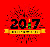 Congratulations to the happy new 2017 year with a bottle of champagne, flags. Vector flat illustration with sunburst Stock Image