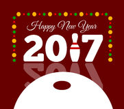 Congratulations to the happy new 2017 year with a bowling and ball. Vector flat illustration Stock Image