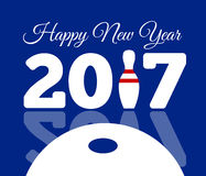 Congratulations to the happy new 2017 year with a bowling and ball. Vector flat illustration Royalty Free Stock Images