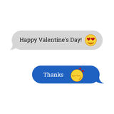 Congratulations to the Happy Valentine`s Day. SMS message with e Stock Image