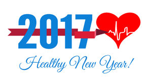 Congratulations to the healthy new year with a heart and cardiogram. Vector illustration Royalty Free Stock Photo