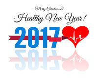 Congratulations to the healthy new year with a heart and cardiogram. Vector illustration Stock Images