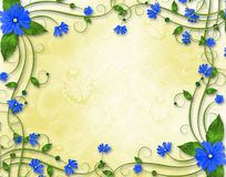 Congratulations to the holiday with blue flowers. Congratulations to the holiday with frame and blue flowers Royalty Free Stock Photo