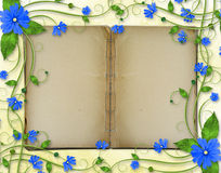 Congratulations to the holiday with copy-book. And blue flowers Stock Photo