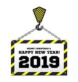 Congratulations to the New Year 2019 on the background of a construction crane royalty free illustration