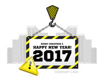 Congratulations to the New Year on the background of a construction crane. Vector illustration vector illustration