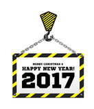 Congratulations to the New Year on the background of a construction crane. Vector illustration royalty free illustration