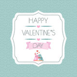 Congratulations to the Valentine's Day. Label. Birds. Ribbon. Typography. Vector Royalty Free Stock Photo