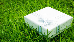 Congratulations Topic: pretty white box with a white ribbon with gifts lying on green grass Stock Photo