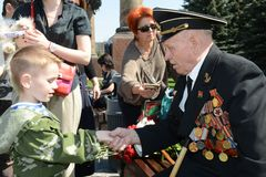 Congratulations in the Victory Day Stock Photography