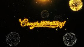 Congratulations wishes greetings card, invitation, celebration firework looped
