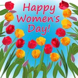 Congratulations on Women`s Day in a frame of bright tulips vector illustration