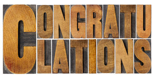 Congratulations in wood type Royalty Free Stock Images