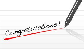 Congratulations written on a notepad paper Stock Photography