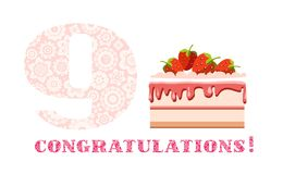 Congratulations, 9 years old, strawberry cake, English, white, pink, vector. Big strawberry cake and number 9 on white background. The inscription in English ` Royalty Free Illustration
