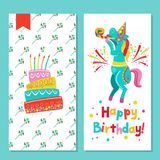 Congratulations on your birthday. Invitation to a festive party. Funny circus horse and a birthday cake.  Bright colorful clipart. Vector illustration Stock Image