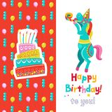 Congratulations on your birthday. Invitation to a festive party. Funny circus horse and a birthday cake.  Bright colorful clipart. Vector illustration Stock Images