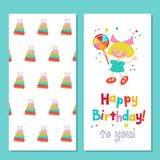 Congratulations on your birthday. Invitation to a festive party. Funny girl with candy. Background with a beautiful birthday cake. Bright colorful clipart Stock Photo
