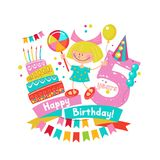 Congratulations on your birthday. Invitation to a festive party. 5 years from the date of birth.  Bright colorful clipart. Vector illustration Royalty Free Stock Photography